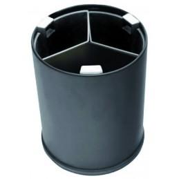 CORBEILLE ronde noire 13L 3 bacs noirs