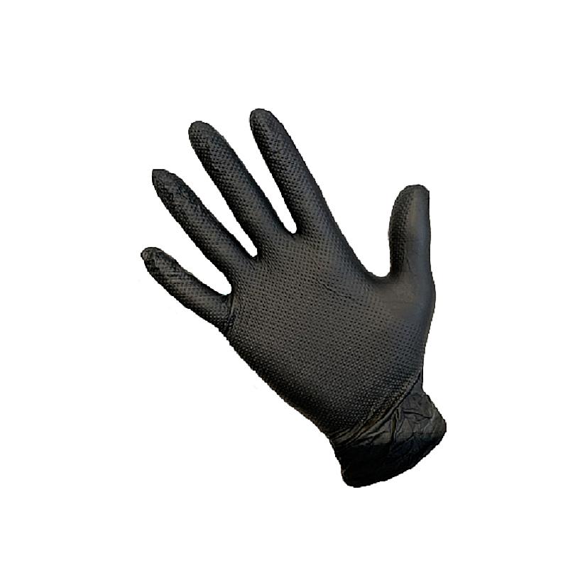 Gants jetables nitrile T-GRIP texturé 8.6gr noir non poudrés - boîte de 50 gants