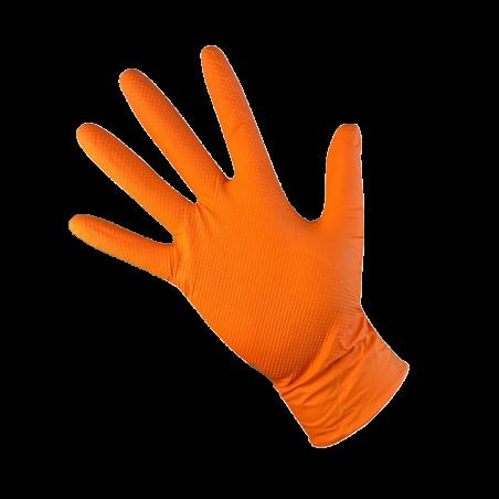 Gants jetables nitrile T-GRIP texturé 8.6gr orange non poudrés - boîte de 50 gants