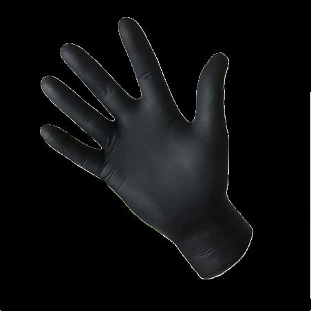 Gants jetables nitrile 5 gr noir non poudrés - boîte de 100 gants